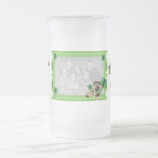 Frosted Irish Mug-Insert Photo Good Friends Frosted Glass Beer Mug
