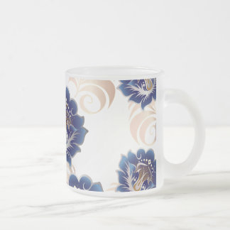 Frosted Large Abstract Blue Flowers Frosted Glass Coffee Mug