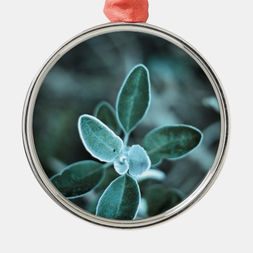 Frosted Leaf Round Metal Christmas Ornament