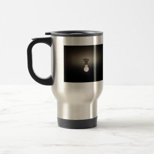 Frosted light-bulb in dark room 15 oz stainless steel travel mug