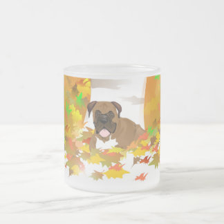 Frosted Mug Boxer Dog Autumn Leaves