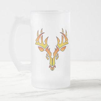 Frosted Mug Deer Logo Flames