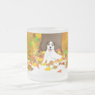 Frosted Mug - Jack Russell Dog - Autumn Leaves