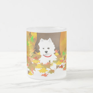 Frosted Mug - Westie Dog Autumn Leaves
