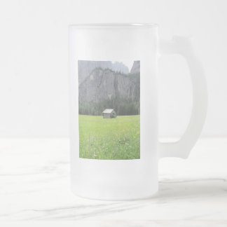 Frosted mug with view of Sella massif & shed
