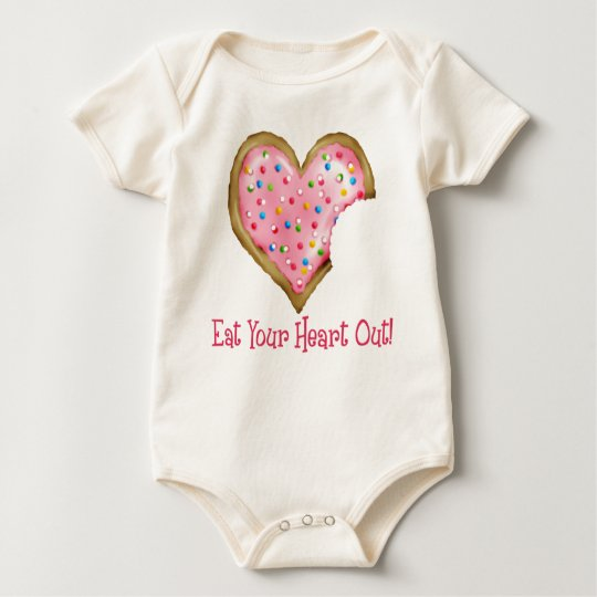 Frosted Pink Heart Cookie with Sprinkles Baby Bodysuit