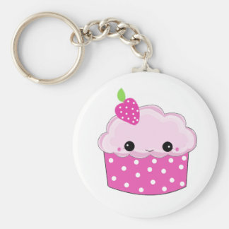 Frosted Pink Smiley Cupcake Keychain