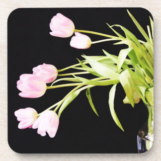 Frosted PInk Tulips Beverage Coaster