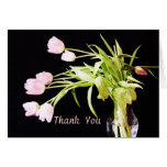 Frosted Pink Tulips Thank You Greeting Cards