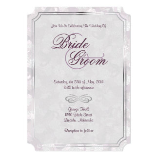 "Frosted Plum, Gray & Silver Classic Wedding Invite 5"" X 7"" Invitation Card"