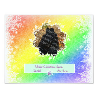 Frosted Rainbow Christmas 4.25x5.5 Paper Invitation Card