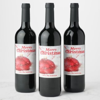Frosted Red Merry Christmas Bauble Ornament Wine Label
