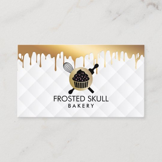 Frosted Skull Bakery Custom Crossbones Logo Business Card Zazzle