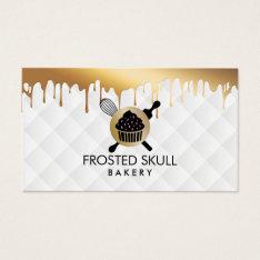 Frosted Skull Bakery Custom Crossbones Logo Business Card at Zazzle