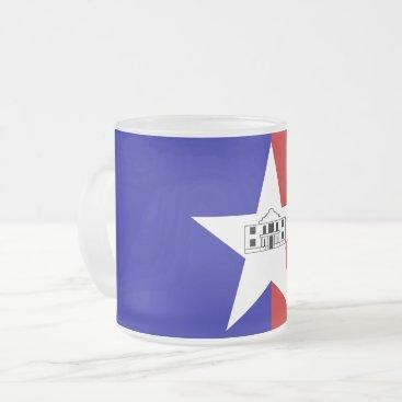 Frosted small glass mug - flag of San Antonio
