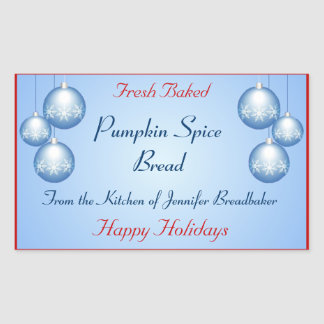 Frosted Snowflake Bulbs Holiday Food Rectangular Sticker