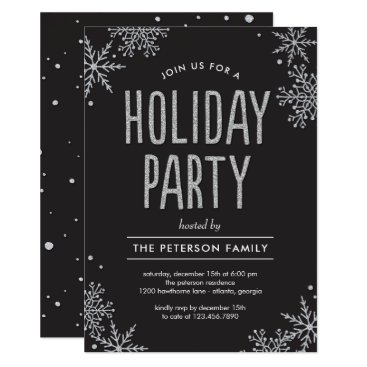 Professional Business Frosted Snowflakes EDITABLE COLOR Party Invitation
