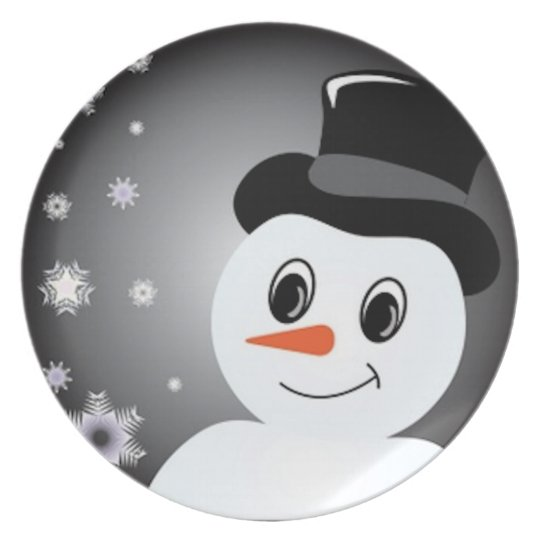 Frosted Snowman Melamine Plate