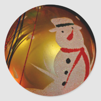 Frosted Snowman Ornament Classic Round Sticker