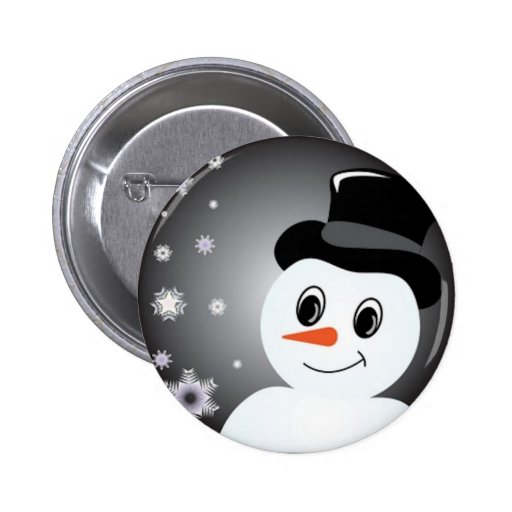 Frosted Snowman Pinback Buttons