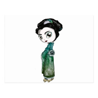 Frosted Spring Geisha Postcard