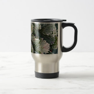 Frosted Strawberry Leaves - Photograph Travel Mug