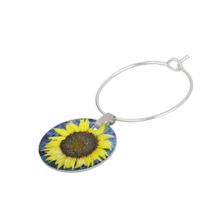 Frosted Sunflower Close Up Photograph Wine Glass Charm