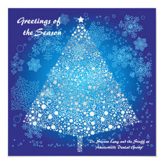 Frosted Tree - Personalized Business Holiday Card Invitations