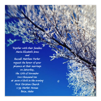 Frosted Tree with Moon Wedding Invitations