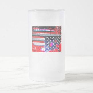 Frosted Upside Down U.S Flag Beer Mug