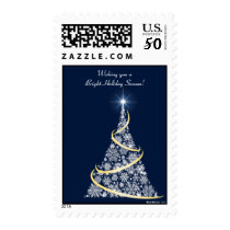 Frosted White and Gold - Holiday Postage Stamp