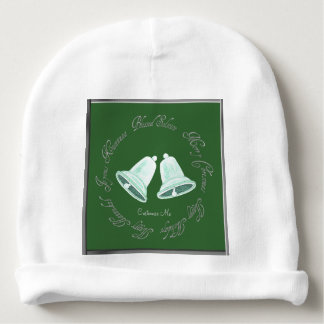 Frosted White/Green Bells Christmas Baby Beanie