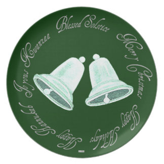 Frosted White/Green Bells Seasonal plate