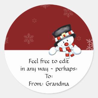 Frostie en rojo con los copos de nieve blancos pegatina
