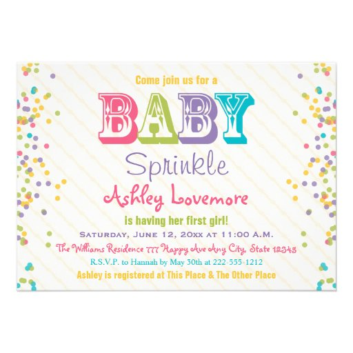 "Frosting and Sprinkles Baby Sprinkle Invitation 5"" X 7 ..."