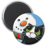 Frosty and Sox - Cat and Snowman Magnet