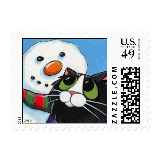 Frosty and Sox - Christmas Cat Postage