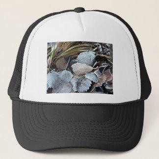 FROSTY AUTUMN LEAVES ON GROUND TRUCKER HAT