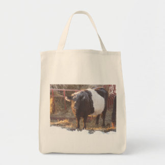 Frosty Belted Galloway Cow Tote Bag