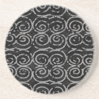 Frosty Black and White Pattern Drink Coaster