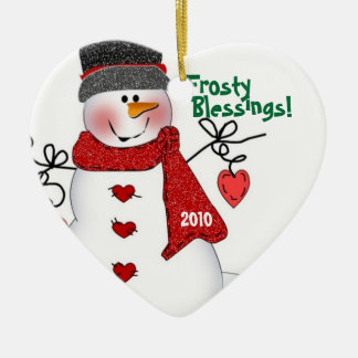 Frosty Blessings! Double-Sided Heart Ceramic Christmas Ornament