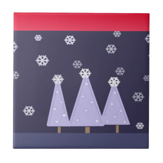 Frosty Blue Christmas Trees Tile