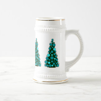 Frosty Blue Colored Christmas Tree Stein