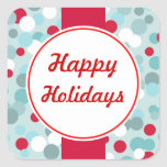 Frosty Blue Happy Holiday Christmas Stickers