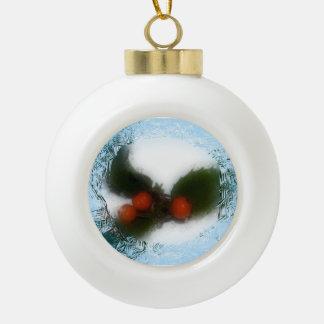 Frosty Blue Holly Ceramic Ball Christmas Ornament