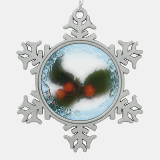 Frosty Blue Holly Snowflake Snowflake Pewter Christmas Ornament