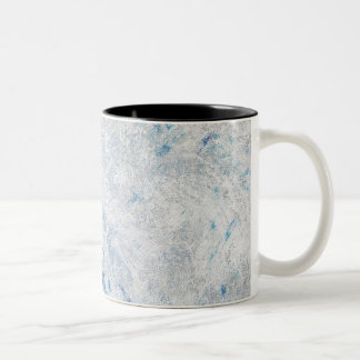 Frosty Blue Ice background Two-Tone Coffee Mug