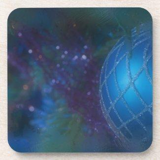 Frosty Blue Ornament Beverage Coaster