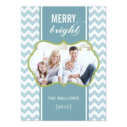 """Frosty Chevron Family Holiday Flat Card 6.5"""" X 8.75"""" Invitation Card"""