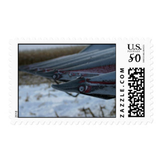 Frosty Corn Combine Tractor Head farm stamps